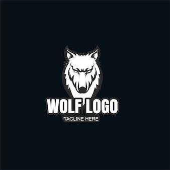 Plantilla de logotipo de lobo blanco y negro