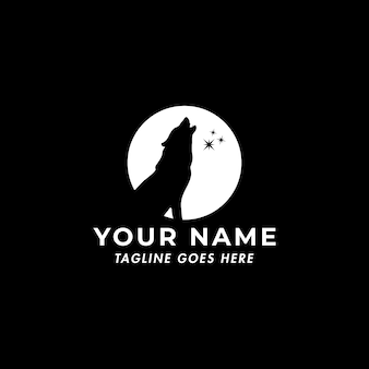 Plantilla de logotipo de lobo y luna