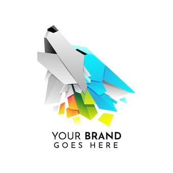 Plantilla de logotipo de lobo de origami moderno