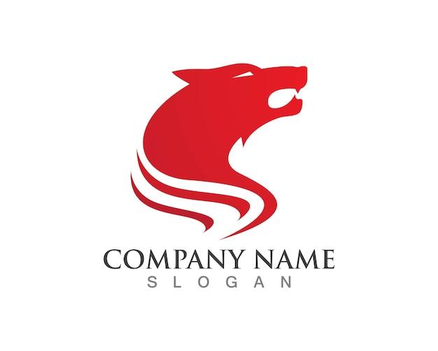 Plantilla de logotipo de lobo