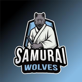 Plantilla de logotipo de lobos samuráis