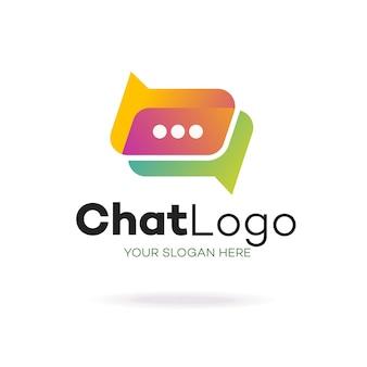 Plantilla de logotipo de logotipo de chat