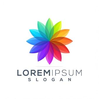 Plantilla de logotipo de loto colorido