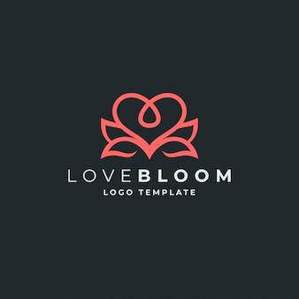 Plantilla de logotipo de loto y corazón