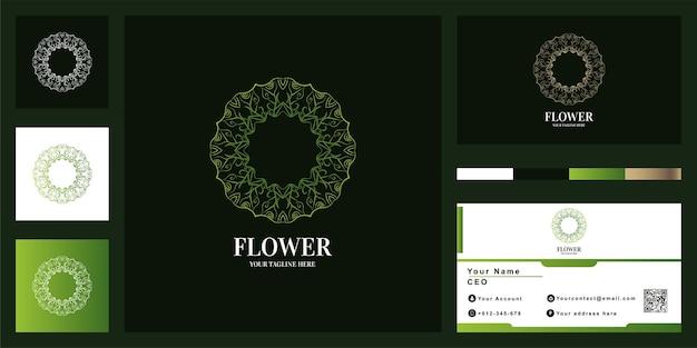 Plantilla de logotipo de mandala con tarjeta de visita.