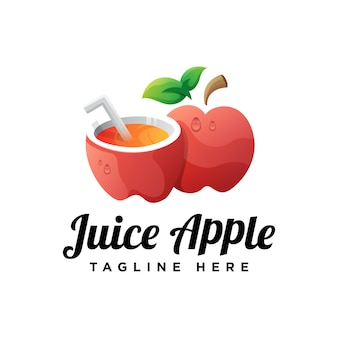 Plantilla de logotipo de manzana de jugo de ilustración