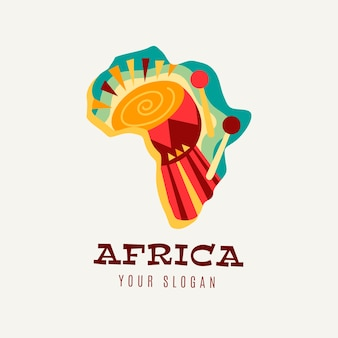Plantilla de logotipo de mapa colorido de áfrica