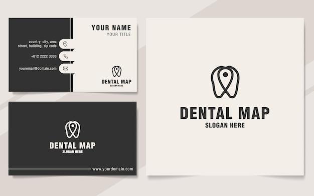 Plantilla de logotipo de mapa dental en estilo monograma