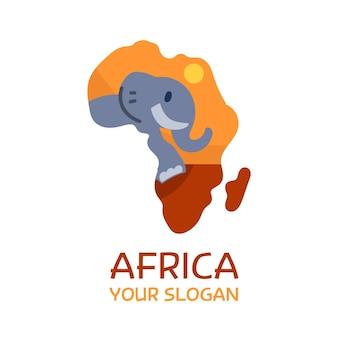 Plantilla de logotipo de mapa de elefante de áfrica