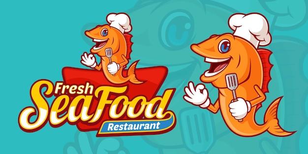 Plantilla de logotipo de mariscos frescos deliciosos, con personajes de chef de pescado de dibujos animados lindo