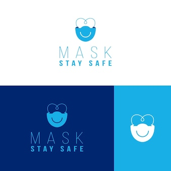 Plantilla de logotipo de mascarilla en diferentes colores