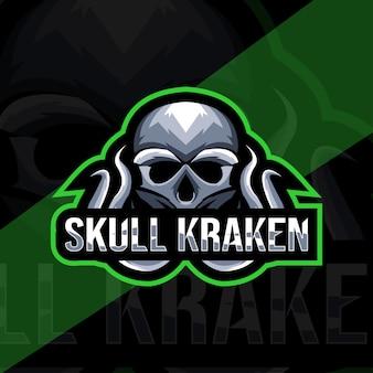 Plantilla de logotipo de mascota cráneo kraken