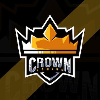 Plantilla de logotipo de la mascota crown gaming