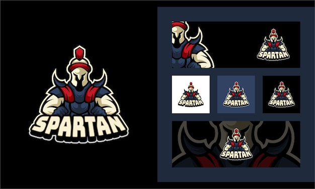 Plantilla de logotipo de mascota de deporte espartano