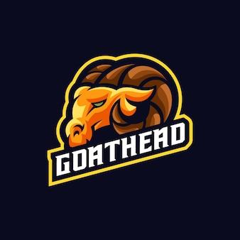 Plantilla de logotipo de mascota de deporte impresionante de cabeza de cabra