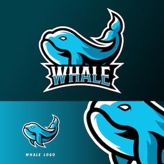 Plantilla de logotipo de mascota de deporte de pesca de ballenas o juegos deportivos