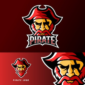 Plantilla de logotipo de mascota de deporte pirata o esport gaming