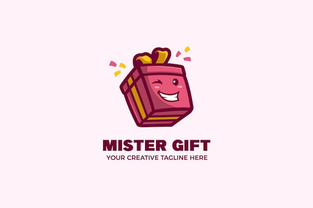 Plantilla de logotipo de mascota de dibujos animados de caja de regalo feliz