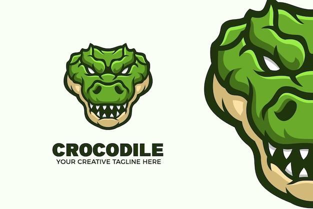 Plantilla de logotipo de mascota de dibujos animados de cocodrilo verde