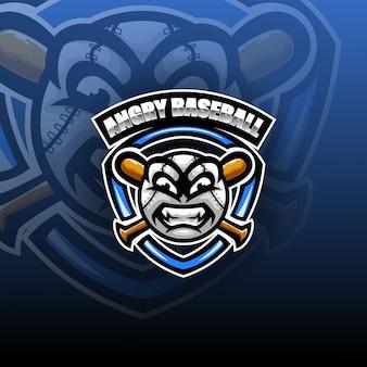 Plantilla de logotipo de mascota de esport de bola enojada