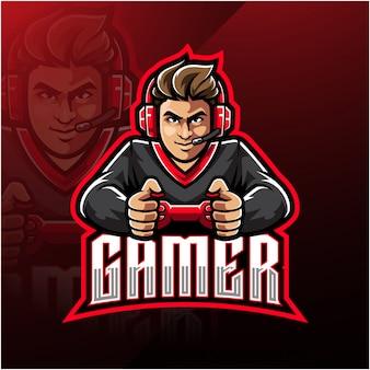 Plantilla de logotipo de mascota de esport gamer