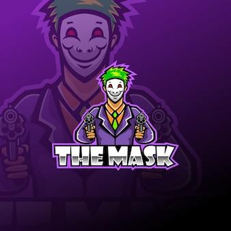 La plantilla de logotipo de mascota de esport de máscara