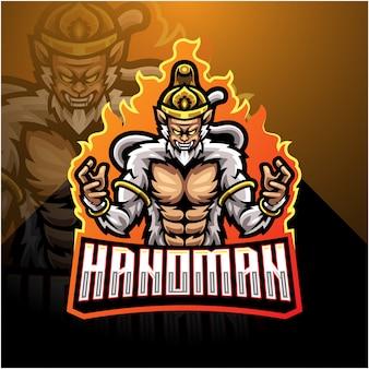 Plantilla de logotipo de mascota hanoman esport