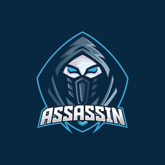 Plantilla de logotipo de mascota de juego de asesino esport