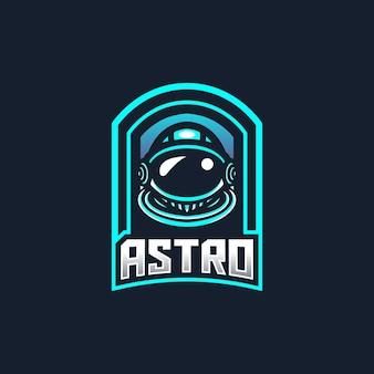 Plantilla de logotipo de mascota de juego de astronauta esport para equipo de streamer.