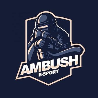 Plantilla de logotipo de la mascota de los juegos e-sport del logotipo de survivor