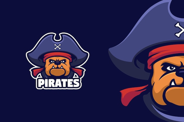 Plantilla de logotipo de mascota pirata bull dog