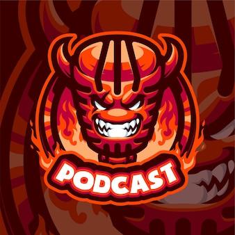 Plantilla de logotipo de mascota de podcast