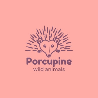 Plantilla de logotipo de mascota puercoespín