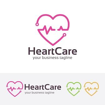 Plantilla de logotipo de médico de cuidado del corazón