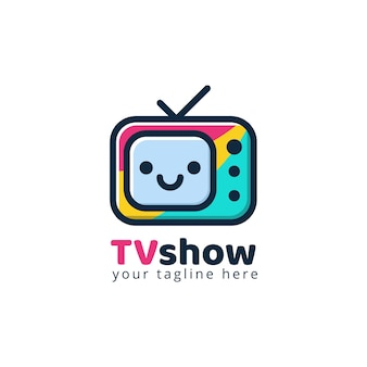 Plantilla de logotipo de medios de tv moderna colorida