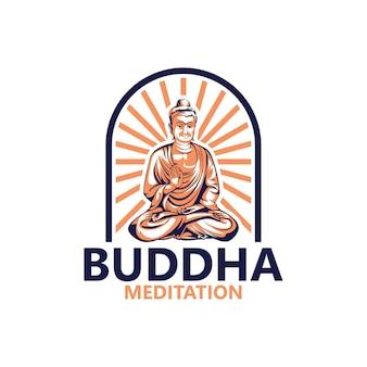 Plantilla de logotipo de meditación de buda