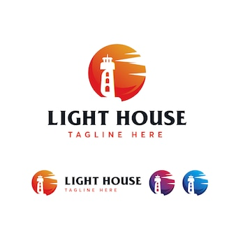 Plantilla de logotipo mercusuar casa de luz