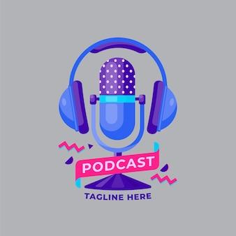 Plantilla de logotipo de micrófono con auriculares
