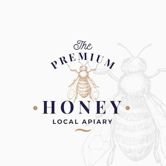 Plantilla de logotipo de miel de calidad superior.