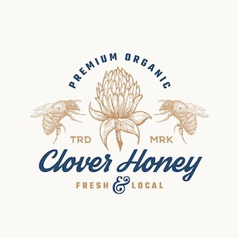 Plantilla de logotipo de miel orgánica premium.