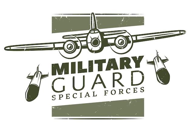 Plantilla de logotipo militar vintage