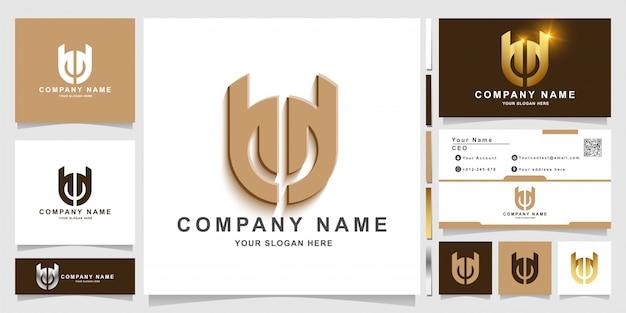 Plantilla de logotipo minimalista elegante letra u 0r o con diseño de tarjeta de visita