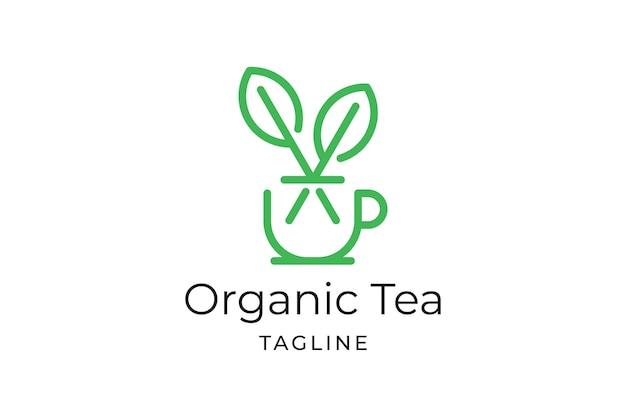 Plantilla de logotipo minimalista de hoja de té con taza