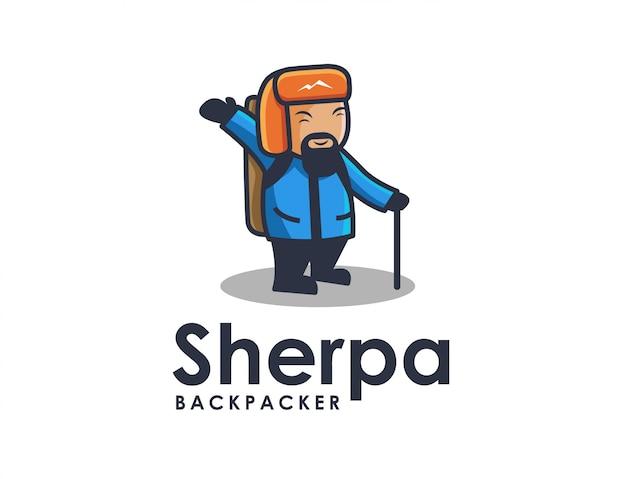 Plantilla de logotipo de mochilero sherpa