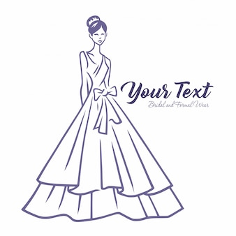 Plantilla de logotipo de moda de novia