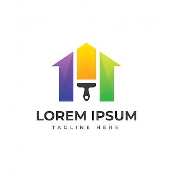 Plantilla de logotipo moderno de casa de pintura