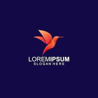 Plantilla logotipo moderno colibrí pájaro