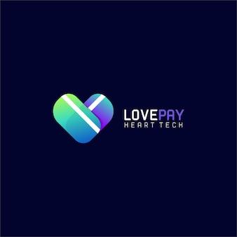 Plantilla de logotipo moderno degradado de pago de amor