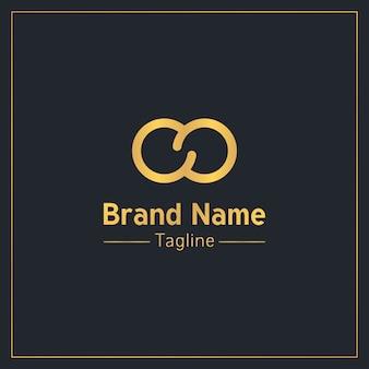 Plantilla de logotipo moderno dorado de signo infinito