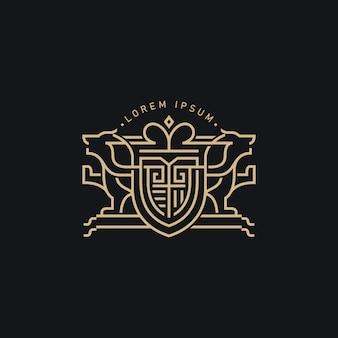 Plantilla de logotipo moderno escudo de armas